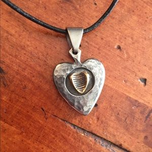 Stainless steel rustic heart pendant